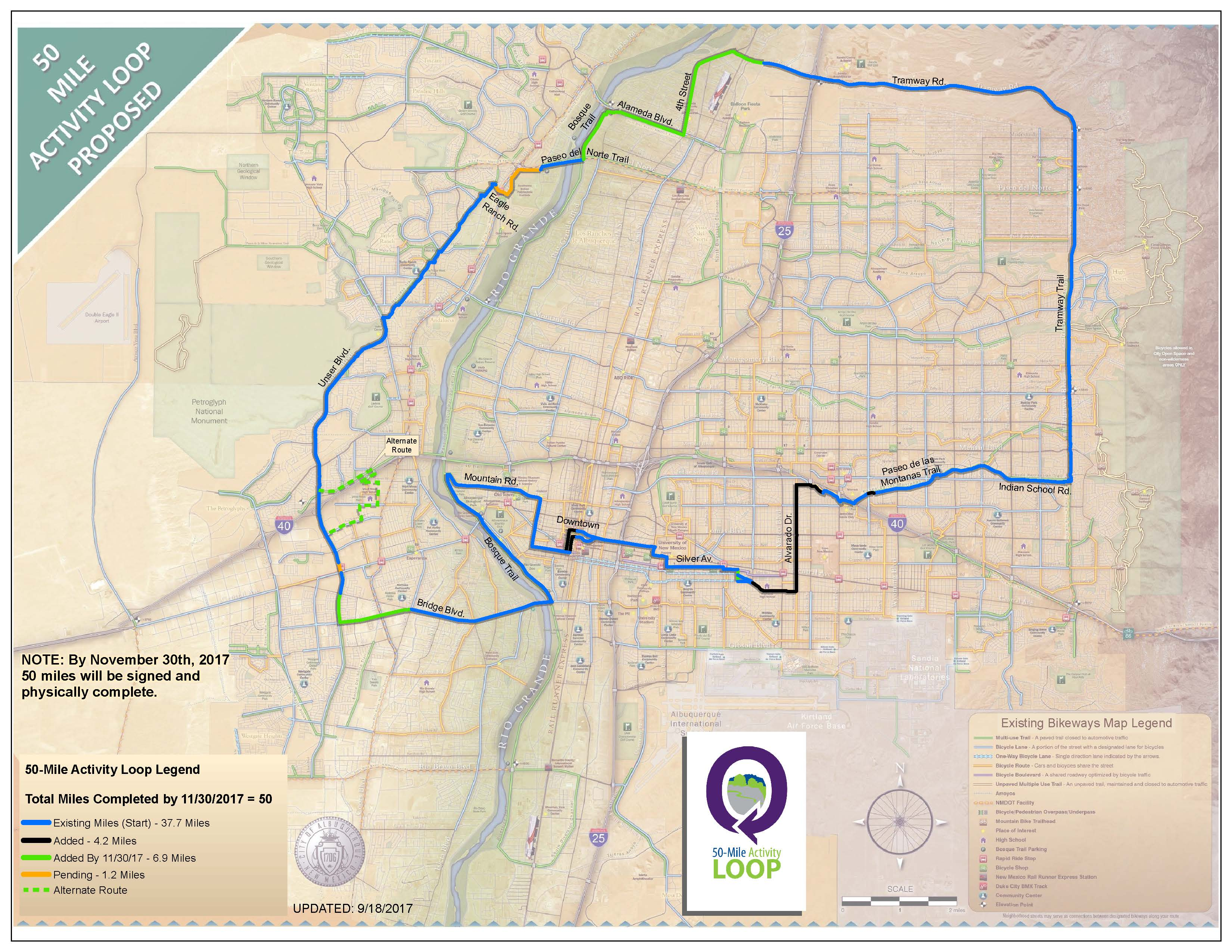 50 Mile Activity Loop Map dated Sept. 18, 2017