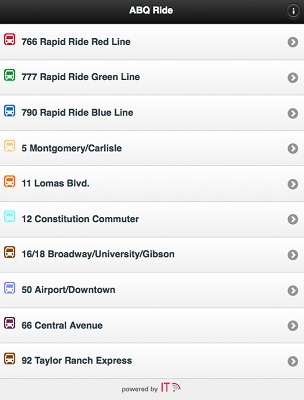 A screenshot of the ABQ Ride App.