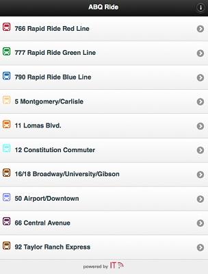 A screenshot of the ABQ Ride App.