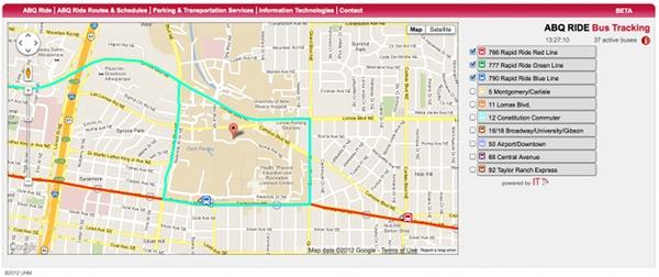 A screenshot of the ABQ Ride website.