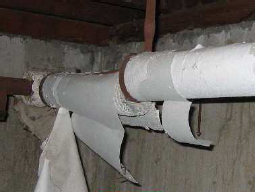 Pipes containing asbestos