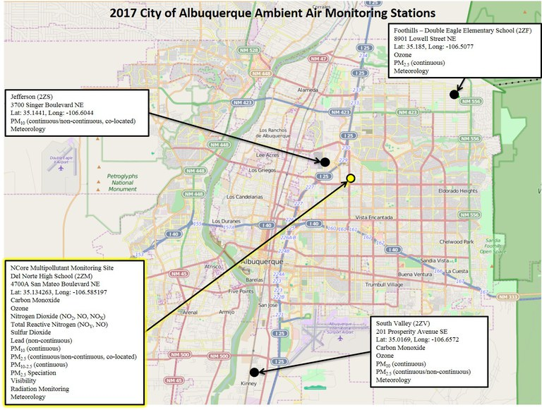 City of Albuquerque Ambient Air Monitoring Stations