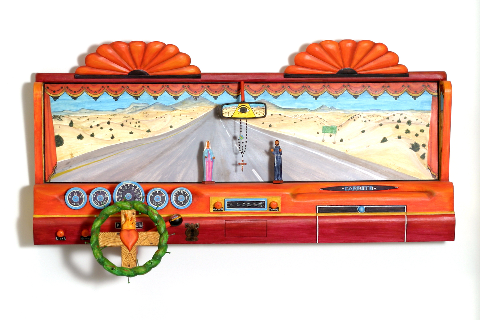Luis Tapia born 1950 Santa Fe, New Mexico; lives La Cienega, New Mexico Chima Altar – Ford III 1992 carved and painted wood with metal, glass beads, string, and nails 35 × 60 × 17 in. museum purchase, 1991 General Obligation Bonds and private donation PC1992.79.1