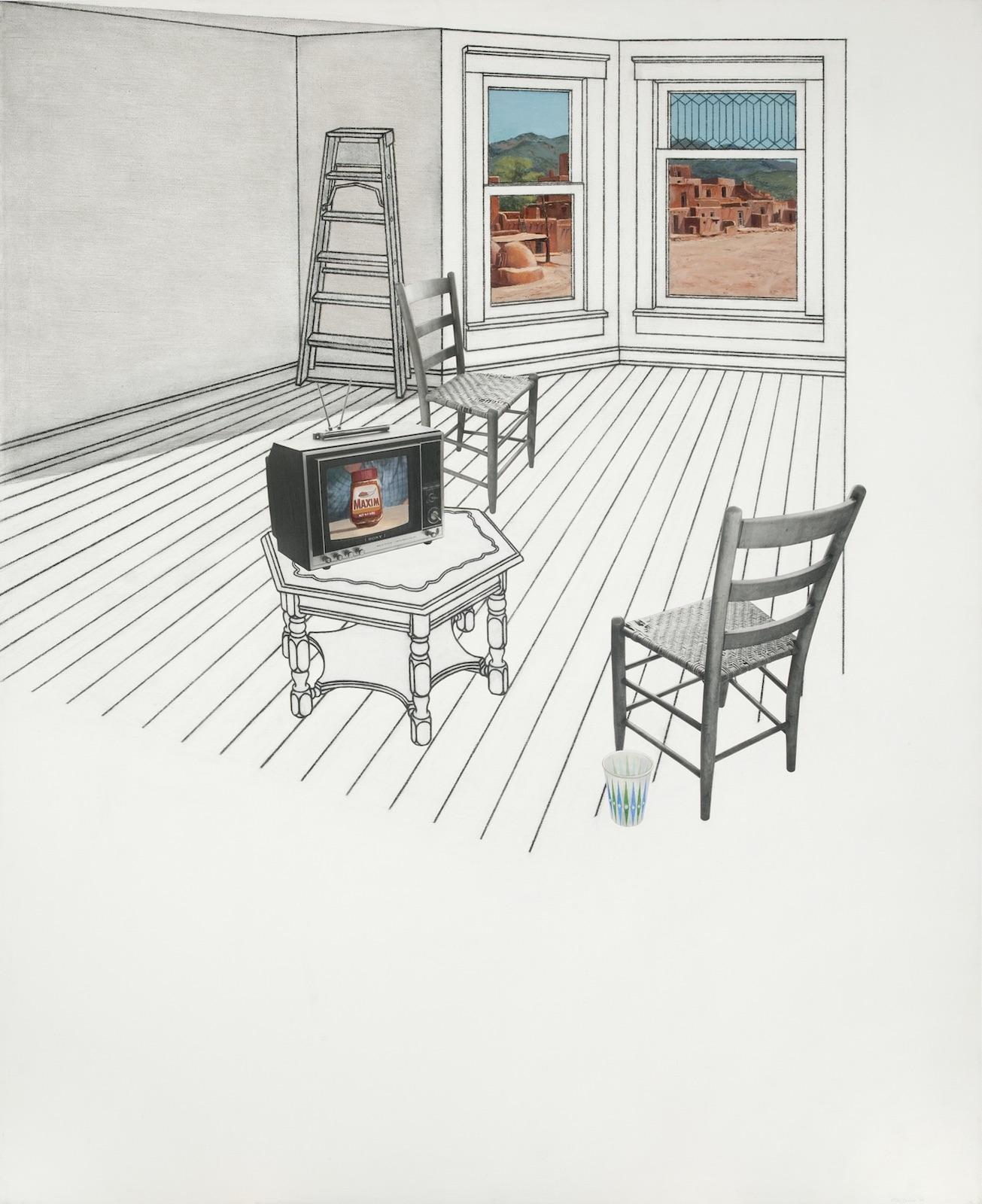 Robert Ellis, Studio Bay with View of Taos Pueblo