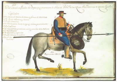 Drawing/Rendering/Painting of a soldier from the Province of New Spain, by . (Courtesy of the Archivo General de Indias, Sevilla, Spain)