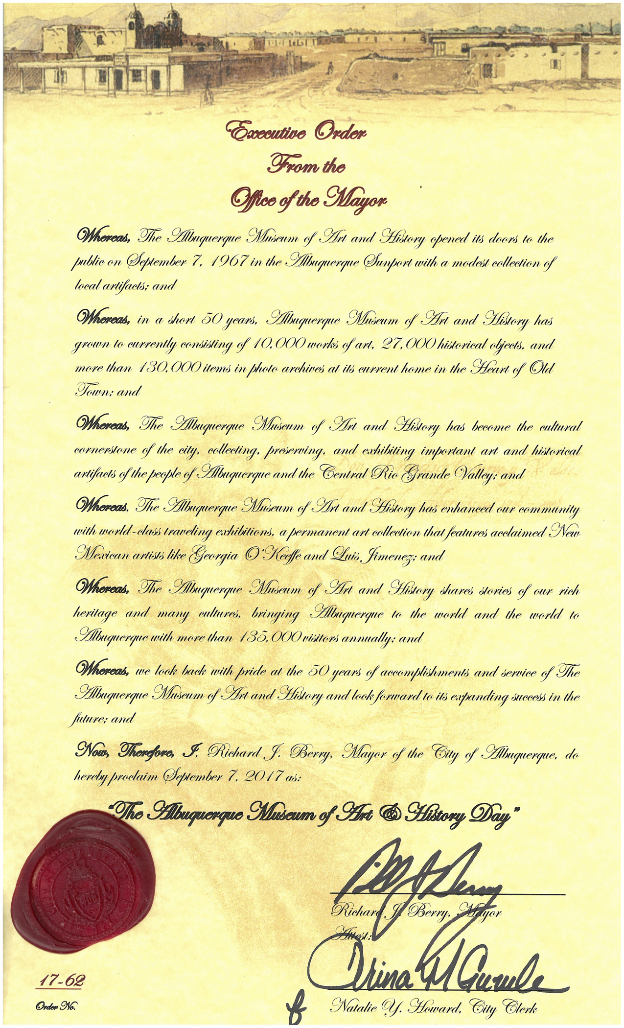 Albuquerque Museum Day Executive Order