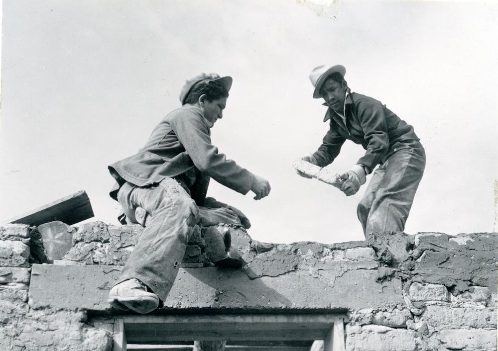 Hanna & Hanna, Albuquerque Progress, Construction Workers on a Recreation Center on Buena Vista Drive, March 1938, gelatin silver print, Albuquerque Museum, gift of Albuquerque National Bank, PA1980-061-161