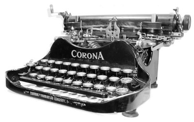 Typewriter and case, c. 1930 (last patent date 1917), Corona, Metal, plastic, rubber, ribbon, ink, Gift of Harry E. Chrisman and Don Bell in memory of Ernie Pyle, PC1990.80.1a&b