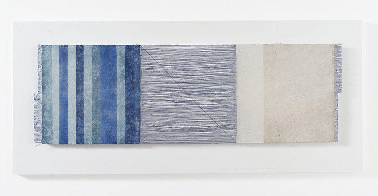 Chiyoko Tanaka; 59cht Grinded Fabric - Three Squares Blue Threads and Blu #689