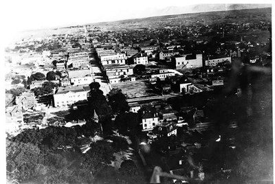 First Aerial View of Albuquerque, 1913. Central (formerly Railroad) and 10th Street, looking East. Roy A. Stamm, Photographer. The Albuquerque Museum Photoarchives. Gift of Allen Stamm, 1998.13.8.