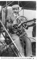 Locomotion Aerienne: Glen H. Curtiss, Sur Son Biplan, c. 1910. Aerial Locomotion - Glen H. Curtiss, On his biplane, c. 1910. Rose, Publisher. The Albuquerque Museum Photoarchives.