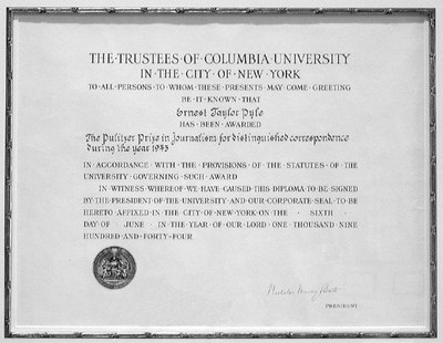 Pulitzer Prize certificate, 1944, Courtesy Indiana University Department of Journalism