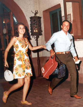 Janet and Charlie Kahn, Alvarado Hotel, 1969.  Schultz Collection, 1999.54.4.  The Kahn's wedding ceremony was the last wedding held at the Alvarado Hotel before its demolition in 1970.