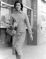 Rita Baca near Mindlin's Jewelers, 1950.  Baca-Jaramillo Collection, 1998.9.1.