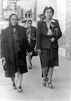 Gertrude and Viviana Jaramillo shopping, 1950.  Baca-Jaramillo Collection, 1998.9.6.