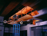 Ingram/Foster Biplane, 1914. Jay Ingram and Charles Foster, fabricators. Wood, fabric, metals, bamboo, rubber. Photographer:  Dick Ruddy. The Albuquerque Museum and Aviation Department Purchase. 1987 G.O. Bond Fund, PC1987.41.1.