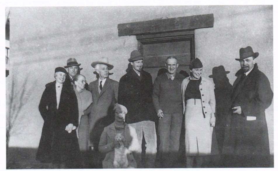 The Transcendental Painting Group (New Mexico, 1938): Bess Harris, R. S. Horton, Bisttram´s mother, Lawren Harris, Marion Bisttram, Robert Gribbroek, Emil Bisttram, Isabel McLaughlin, and Raymond Johnson