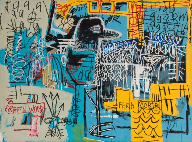 JEAN-MICHEL BASQUIAT  Bird On Money, 1981, acrylic and oil on canvas, 66 x 90 in. (167.6 x 228.6 cm), Rubell Family Collection, acquired in 1981