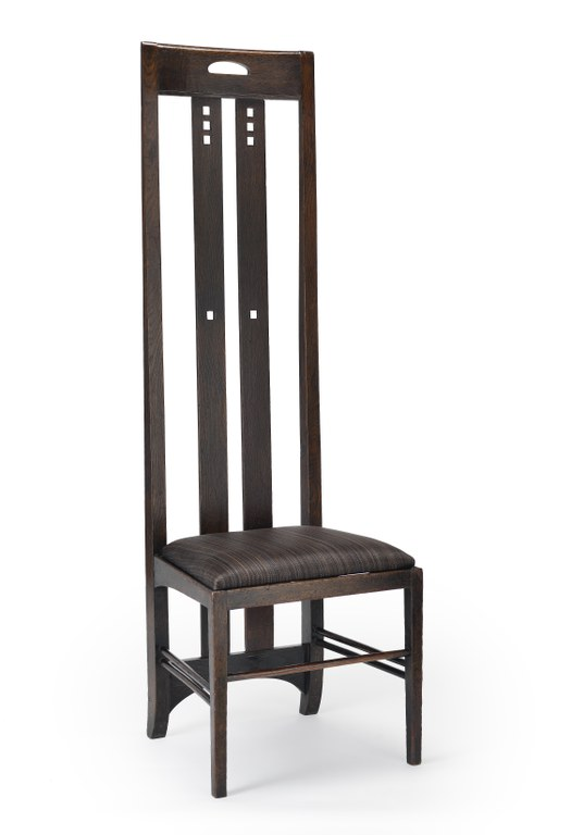 Charles Rennie Mackintosh (designer) High-backed chair for the Ingram Street Tea Rooms, 1900-1901 Stained oak, modern horse-hair upholstery, 59 x 18 5/8 x 17 1/8 in. Glasgow Museums, Acquired by Glasgow Corporation,  as part of the Ingram Street Tearooms, 1950 © CSG CIC Glasgow Museums Collection Courtesy American Federation of Arts