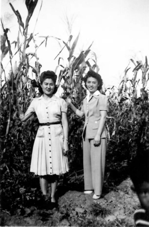 Evelyn Saeda (right) stands in a corn field near Albuquerque on August 30, 1942. She was the daughter of Japanese immigrants and the mother of Steve Togami, current president of the New Mexico Japanese American Citizens League. Courtesy of the Togami family.