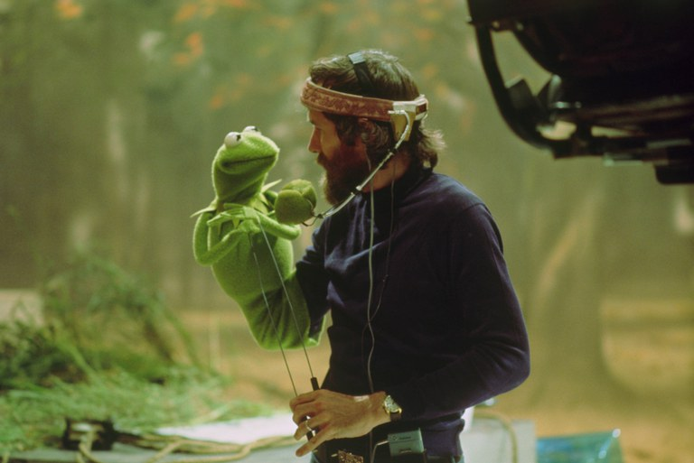 Jim Henson and Kermit the Frog on the set of The Muppet Movie