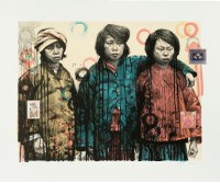 Hung Liu, born 1948 Changchun, People's Republic, China; lives Oakland, California, Sisters in Arms I, 2003, 6 color lithograph with chine collé of chinese designs, Albuquerque Museum, gift of Marjorie Devon, PC2014.59.1