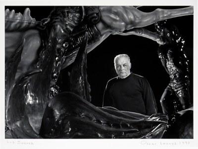 Oscar Lozoya (1953 Chihuahua, Mexico - 2019 Albuquerque, New Mexico), Luis Jimenez, 1997, gelatin silver print, Albuquerque Museum, museum purchase, 1993 General Obligation Bonds, PC1997.24.6
