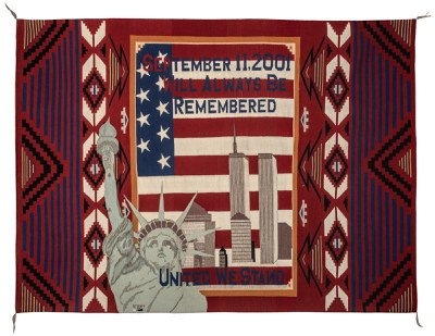 Marilyn Y. Scott, Diné, born Blue Canyon, Arizona 1983; lives Tuba City, Arizona, September 11 Tribute Rug, began November 2001, completed 2002, aniline dye on wool, Albuquerque Museum, museum purchase