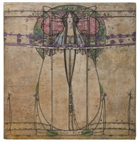 Margaret Macdonald Mackintosh The May Queen: panel from the Ladies' Luncheon Room, Ingram Street Tea Rooms, 1900 Gesso, hessian, scrim, twine, glass beads, thread, tin leaf 62 1/2 x 179 7/8 in. (overall) Glasgow Museums, Acquired by Glasgow Corporation, as part of the Ingram Street Tearooms, 1950 © CSG CIC Glasgow Museums Collection Courtesy American Federation of Arts