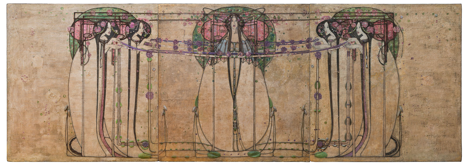 Margaret Macdonald Mackintosh, The May Queen: Panel for the Ladies' Luncheon Room, Ingram Street Tearooms, Glasgow, 1900. Gesso, hessian, scrim, twine, glass beads, thread, mother-of-pearl, tin leaf. © CSG CIC Glasgow Museums Collection. Courtesy American Federation of Arts. Designing the New: Charles Rennie Mackintosh and the Glasgow Style