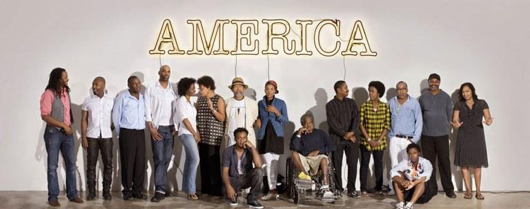 30 Americans artists in front of Glenn Ligon's America