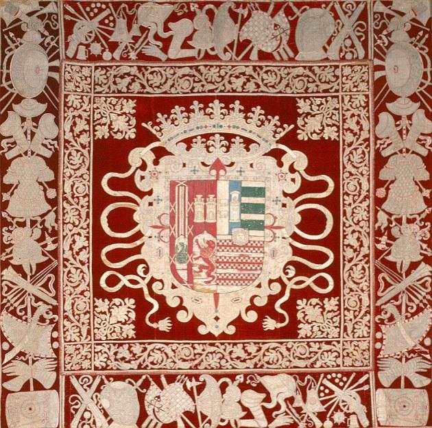 Repostero, 1665, silk, velvet, gold, silver, linen and jute, 142 x 142 in. (360.7 x 360.7 cm) Albuquerque Museum. Gift of the 18th Duke (Don Beltran Osorio y Diez de Rivera) and Duchess of Alburquerque, Spain via the City of Albuquerque Public Art Program, PC1973.33.1