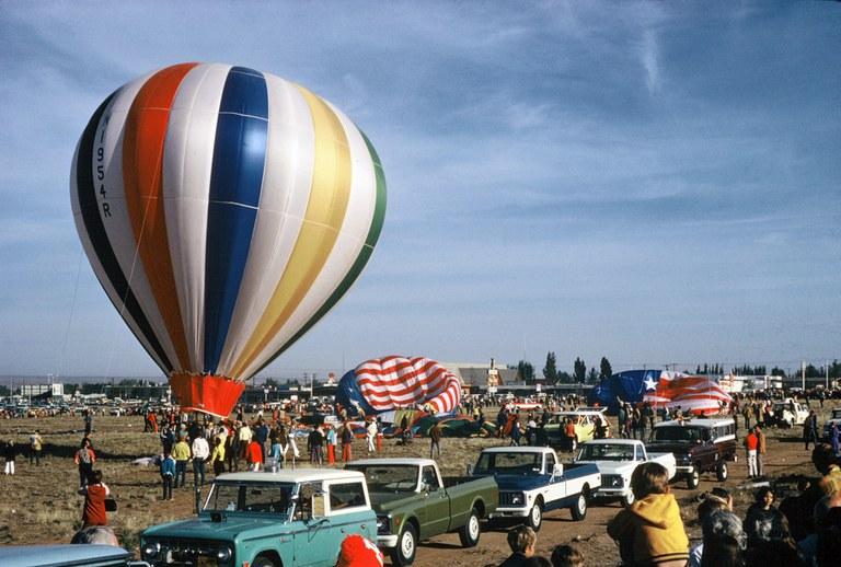 Hot air Balloons and Trucks at the 1972 Fiesta