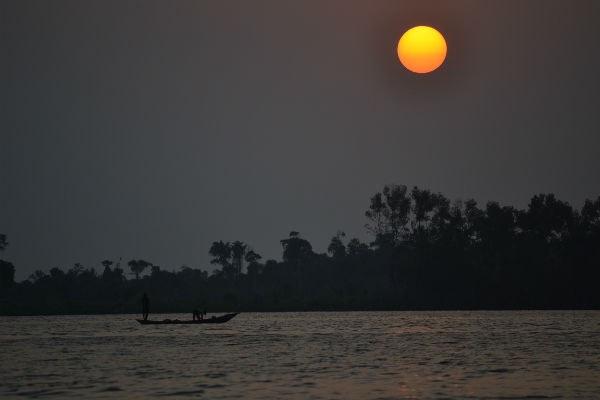 Sun over Cote d'Ivoire lagoon