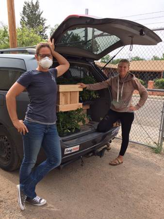 FIFABQ reps pick up plants from Botanic Garden, May 2020.