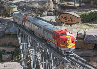 caption:A model train at the Botanic Garden