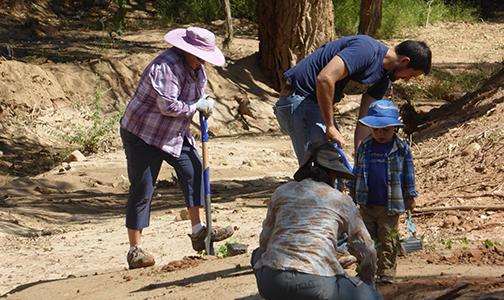 Ghost Ranch restoration project, 2018. BioPark staff working.