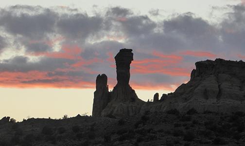 Ghost Ranch restoration project, 2018. Sunset landscape photo.