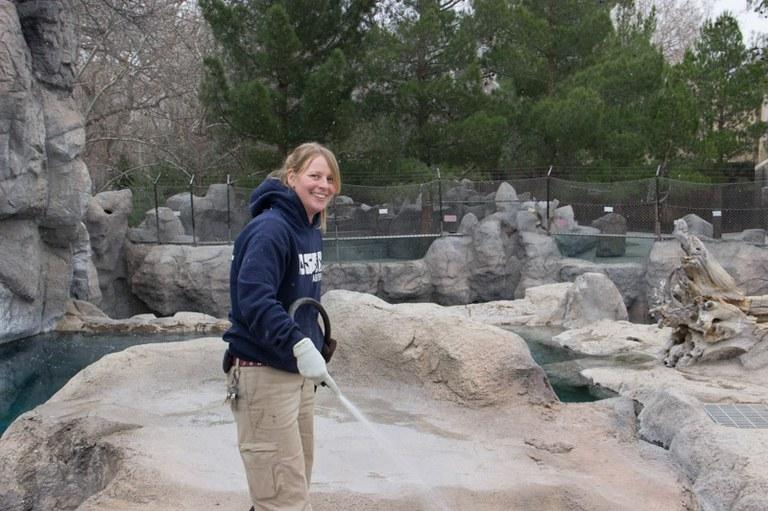 Jenn cleaning polar bear exhibit 2