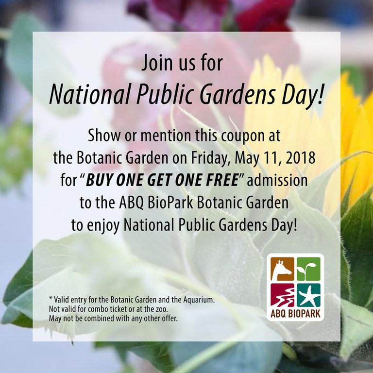 National Public Gardens Day 2018 Coupon