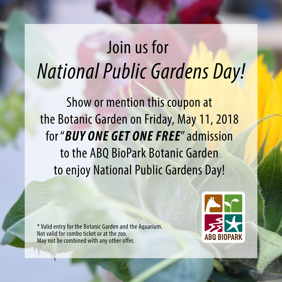 National Public Gardens Day 2018 Coupon
