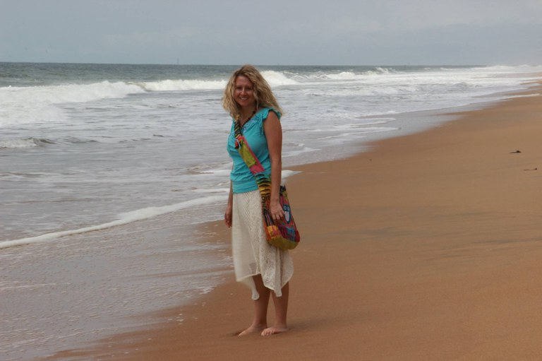 Tina Deines on the beach in the Ivory Coast during 2017 Abidjan trip.