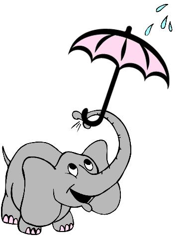 elephant with umbrella cartoon