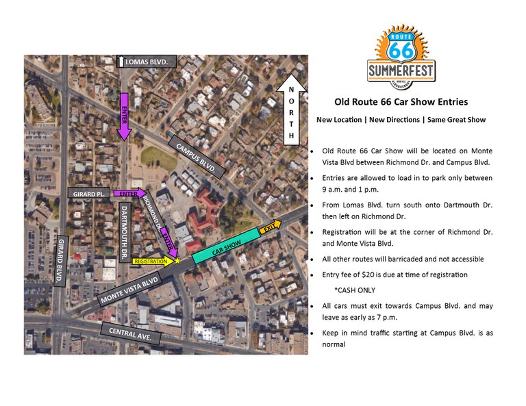 Route 66 2017 Summerfest car show map