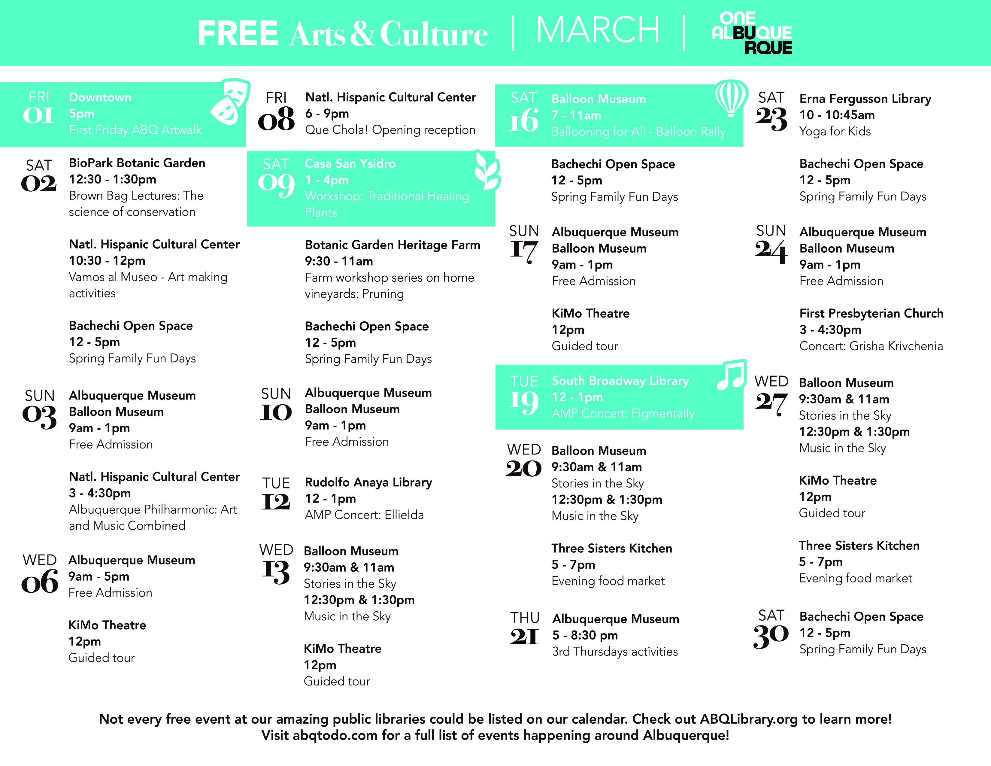 CSD Free Events March