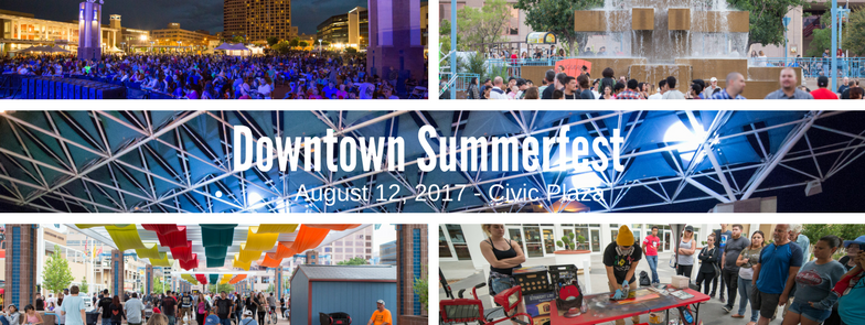 Collage of images from Downtown Summerfest.