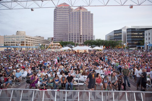 Crowd at Civic Plaza for Centennial Summerfest