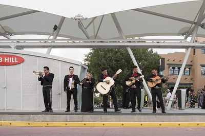 Mariachis perform on A.R.T. Station in Nob Hill