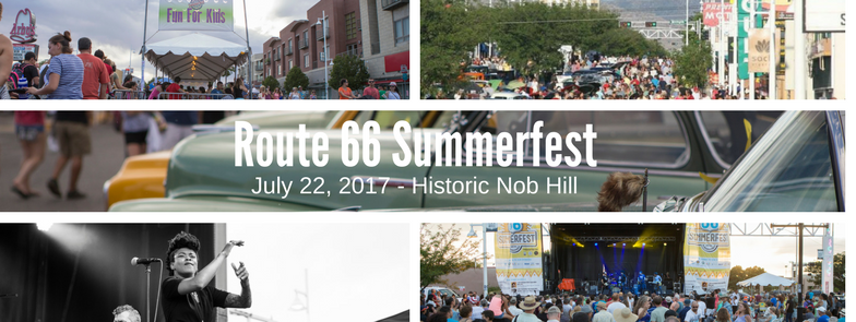 Collage of images from Route 66 Summerfest.