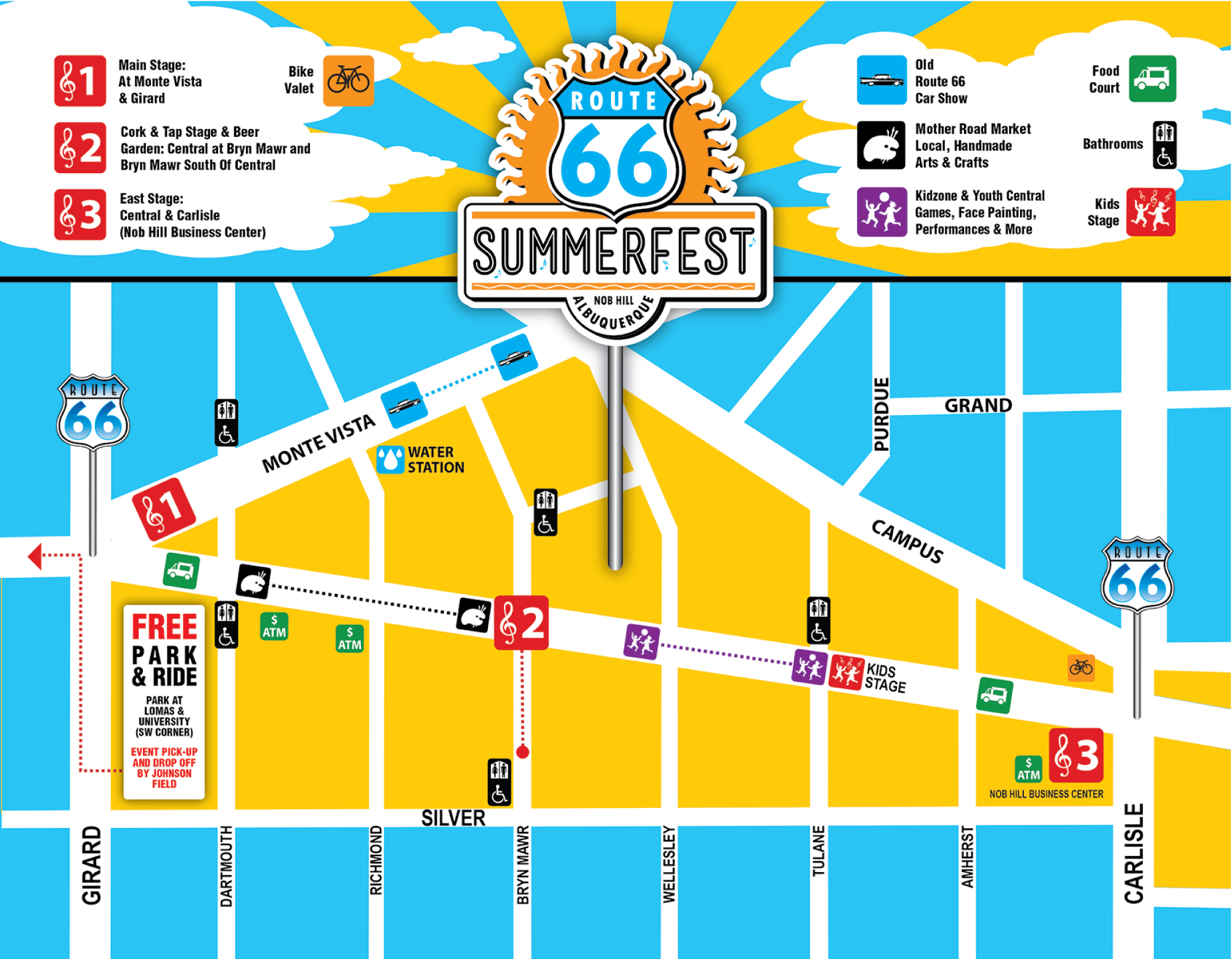 Route 66 2017 Summerfest Outpost Map on
